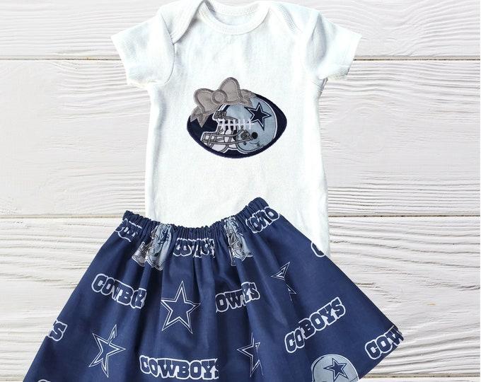 Cowboys Baby Girl Clothing Set | Dallas Cowboys Girls Outfit | Cowboys Girls outfit  | Girls clothing set | Cowboy  Inspired Dress