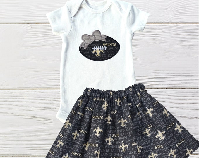 New Orleans Saints outfit | Saints Girls Outfit | New Orleans Saints Girls outfit  | Girls clothing set | New Orleans Saints Inspired Dress