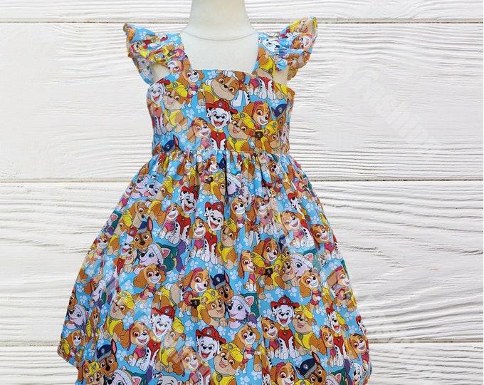 PAW PATROL DRESS - Birthday dress - Baby Girl Clothes -Paw Patrol blue dress - Girl Dress - Toddler Skye Dress - Paw Patrol birthday