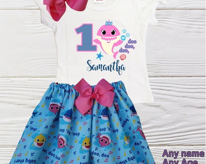 Baby Shark birthday outfit | Baby Shark girls outfit | Little Girls Shark outfit | Girls Shark clothing set | Personalized Baby Shark outfit