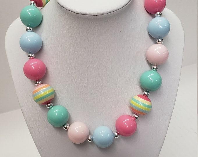 CHUNKY BUBBLE GUM  Necklace - Blue Pink  Bubblegum Necklace - Girl Chunky Necklace - Chunky Bead Necklace - Elastic Necklace, Necklace