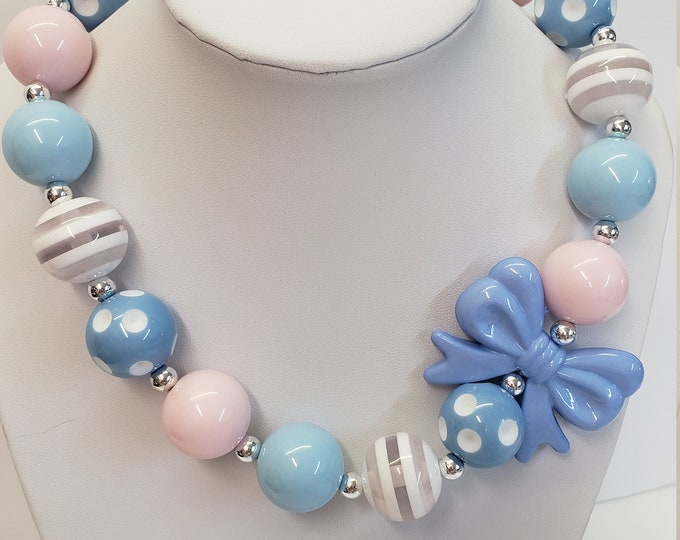 CHUNKY BUBBLE GUM  Necklace - Girls Pink Blue Necklace - Girl  Elastic Chunky Necklace - Birthday Necklace - Toddler Girl Necklace