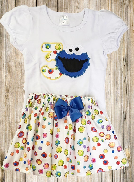 Cookie Monster Birthday Outfit Sesame Street Birthday Shirt Etsy