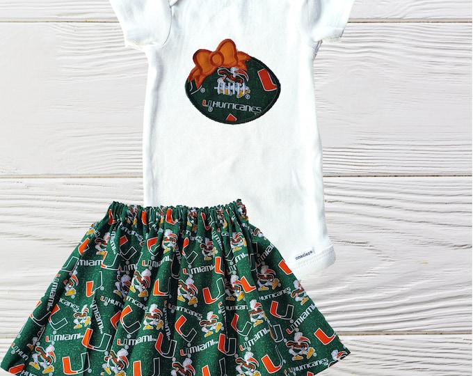 University of  Miami outfit | UM Girls Outfit | Hurricanes Girls outfit  | UM Girls clothing set | University of Miami dress