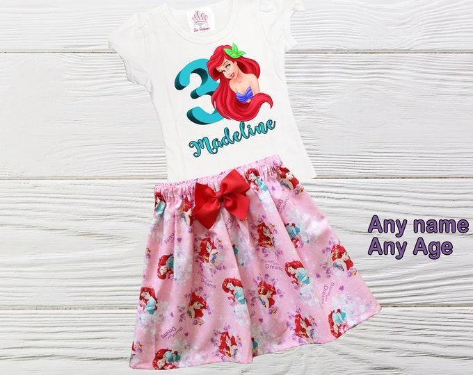 Little Mermaid Girls Outfit |  Ariel Birthday Outfit |  Little Mermaid Outfit | Personalized Girls Outfit | Girls Birthday Outfit