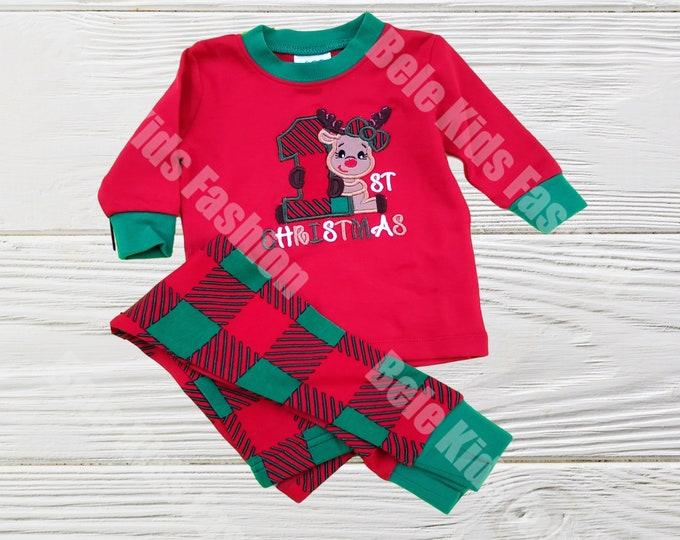 Christmas pajamas - Green and  Red baby Christmas pajamas -  Girls First Christmas Kids  Pajamas - Girls Christmas pajamas