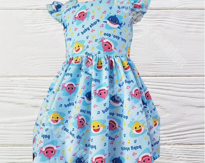 Baby Shark birthday dress |  Baby Shark girls dress | Girls Shark dress  Girls dress | Girls Birthday  Shark dress