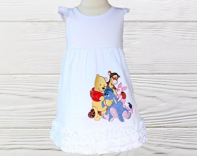 Winnie the Pooh Birthday Dress | Girls Birthday dress | Pooh and friends pullover dress | Toddler Pooh birthday dress