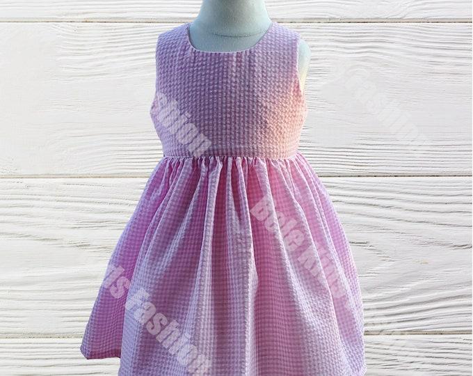 Girls birthday dress | Monogrammed dress | Girls dress | Seersucker dress | Pink Gingham Girls dress | Baby Girls dress