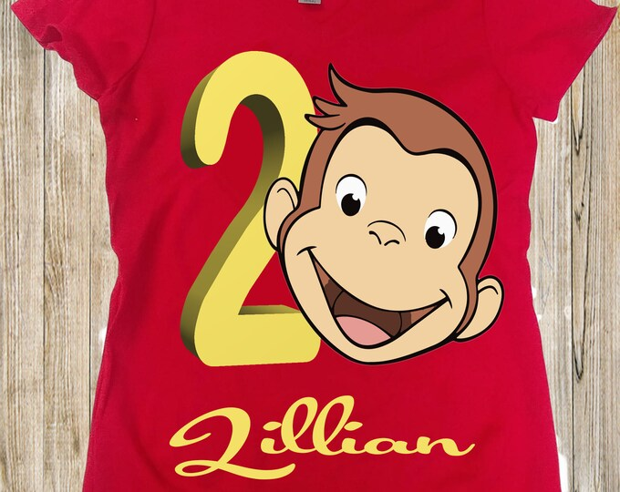 Curious George birthday shirt - George toddler  shirt - Girls Curious George shirt - Personalized girls shirts
