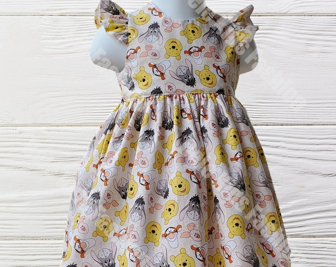 Winnie the Pooh Dress | Girl's Dress |  First Birthday Dress | Handmade Dress | Pooh Girl's Dress | Birthday Girl Dress