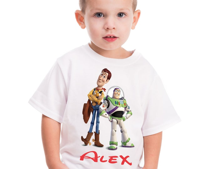 Toy Story boys T-shirt Toy Story personalized birthday shirt Woody Buzz Shirt onesie