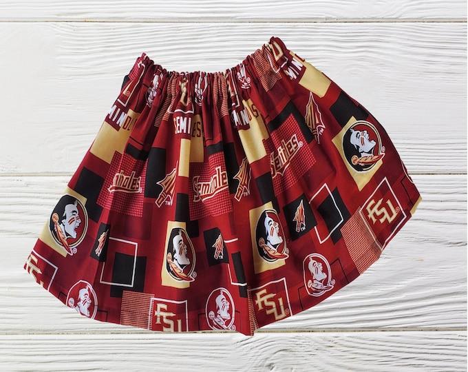 Florida State University Girls Skirt | Seminoles Girls Skirt  | Girls Florida State Skirt |  FSU Girls Skirt