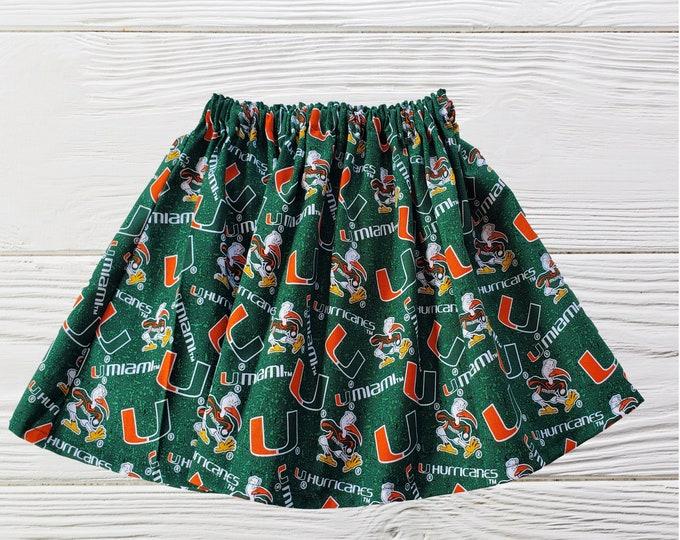 University of  Miami Skirt | UM Girls Skirts | Hurricanes Girls Skirts  | UM Girls clothing | University of Miami  Skirt | Girls Skirts