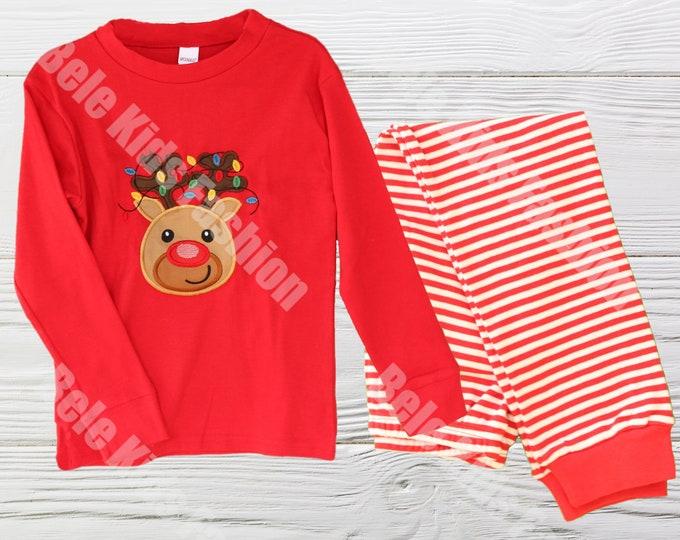 Christmas pajamas - Red and White baby Christmas pajamas -  Reindeer  Kids  Pajamas -  Christmas pajamas