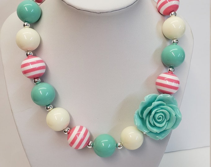 CHUNKY BUBBLE GUM  Necklace - Girls Pink Green Necklace - Girl  Elastic Chunky Necklace - Birthday Necklace - Toddler Girl Necklace