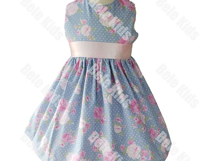 Birthday Girl Dress | Blue Floral Dress |  Handmade Dress | Girls dress | Birthday Dress