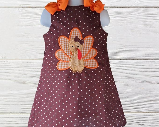 Thanksgiving Girl Dress | Turkey Baby Girl Dress | Holiday Girls Dress | Thanksgiving Turkey Girls Dress | Girls jumper dress |Girls dresses