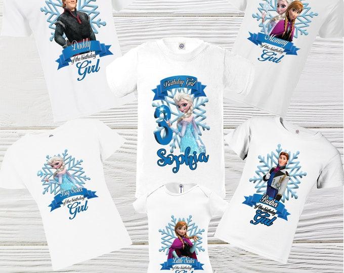 Frozen Custom Family personalized shirts - Frozen girl shirt - Elsa Birthday Shirts - Elsa Anna shirts - DTG Frozen Shirt
