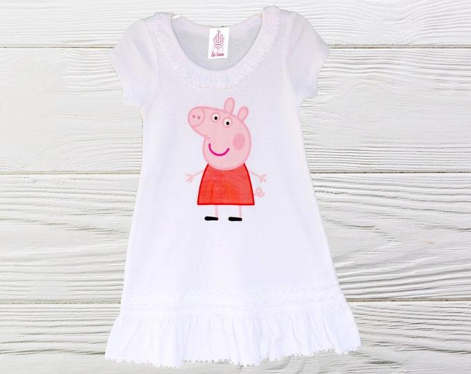 Peppa Pig dress |  Peppa Pig birthday dress | Girls Peppa Pig Dress | Knit Girls dress | Long OR Short Sleeve Girls Dress