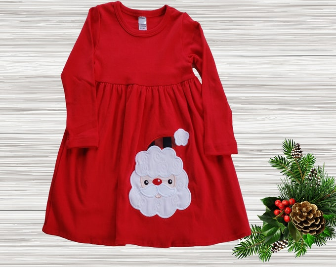 Girls Christmas dress | Christmas Baby Girls Dress | Long Sleeve Red Christmas Girl Dress | Knit Girls dress | Long Sleeve Girls Dress