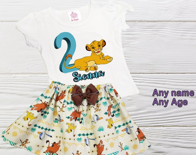 Simba birthday Outfit | Lion King Girl Outfit | Disney Simba Personalized Outfit | Girls Birthday Outfits | Lion King Simba Girls Dress