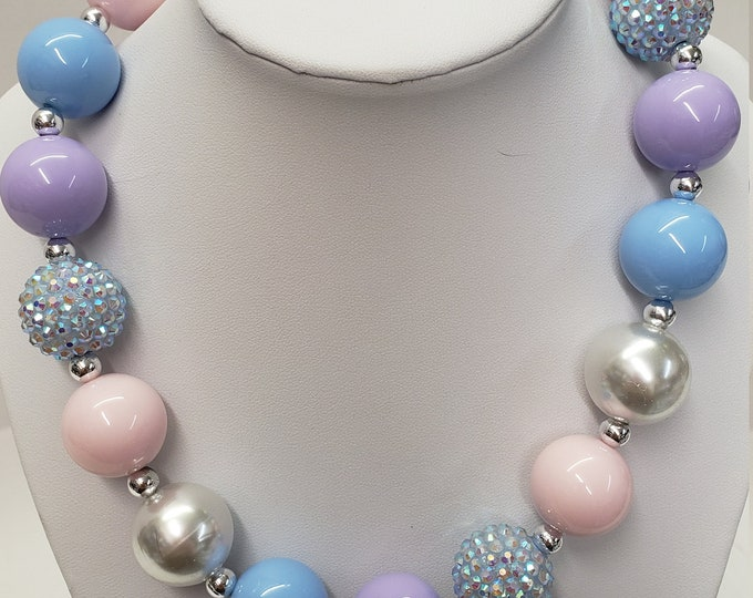CHUNKY BUBBLE GUM  Necklace - Pastel colors Bubblegum Necklace - Girl Chunky Necklace - Chunky Bead Necklace - Elastic Necklace, Necklace