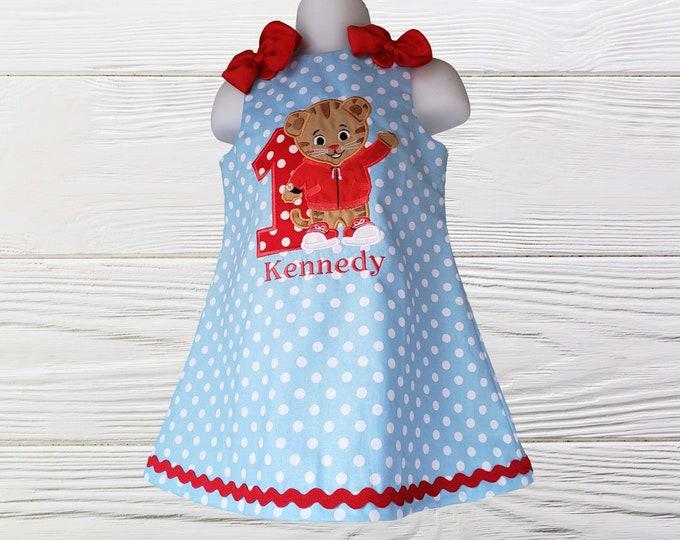 Daniel The Tiger Dress | Daniel Tiger Birthday Dress | Girls Dress | |Baby Girl Daniel Dress | Birthday  Girls Dress | Jumper Dress