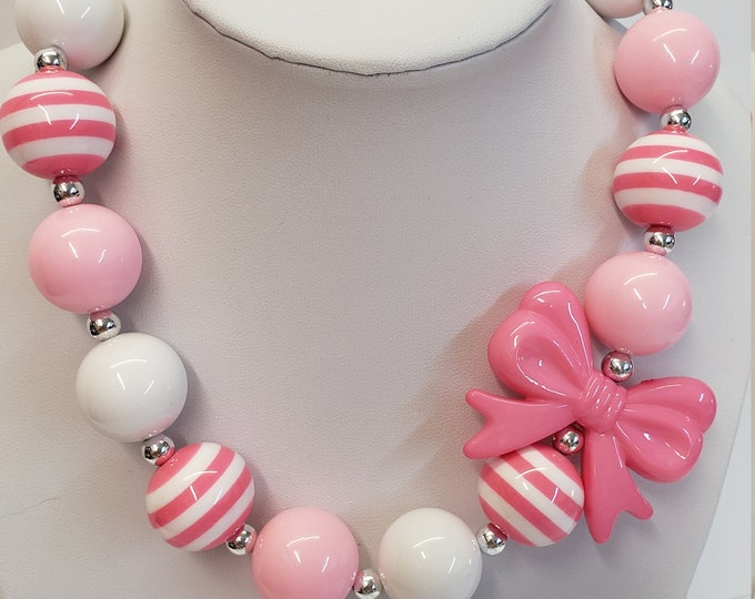 CHUNKY BUBBLE GUM  Necklace - Girls Pink Necklace - Girl  Elastic Chunky Necklace - Birthday Necklace - Toddler Girl Necklace