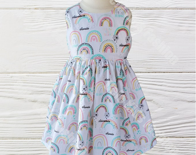 Girls birthday dress | Rainbow girls dress | Picture dress | Custom girls dress |Shabby Chic dress | Rainbow dress | Handmade Girls dress