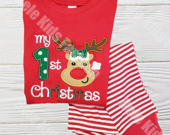 First Christmas pajamas - Red and White baby Christmas pajamas -  Reindeer  Kids  Pajamas -  Baby First Christmas pajamas