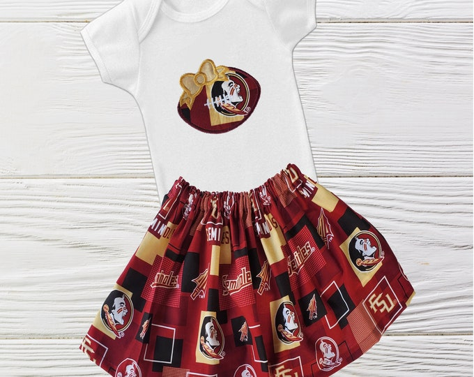 Florida State University outfit | Seminoles Girls Outfit | Girls Florida State Skirt Body suit |  FSU Girls outfit
