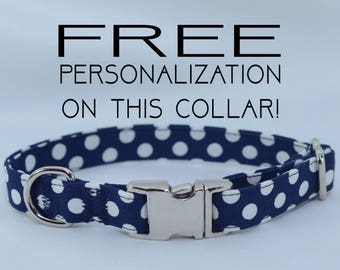 "Navy blue polka dots, adjustable dog collar, Metal buckle, small 5/8"", Dog Collar, FREE PERSONALIZATION"