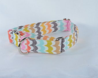 Colorful Rainbow Sorbet Scallop Chevron Adjustable Dog Collar, Personalized, Engraved, ID Buckle