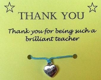 Teacher Wish Bracelet, Teacher Thank You, Teacher gift, Teacher bracelet, Thank you gift, Thank you Charm, Cord String Bracelet