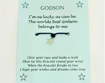Godson Wish Bracelet Christmas Keepsake gift, Godson jewellery, Godson Bracelet, Christmas gift, Stocking Filler Stuffer
