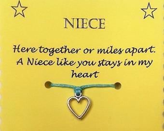 Niece Easter Gift, Niece Wish Bracelet, Niece Charm bracelet, Niece Bracelet, Niece Jewelry, Gift for Niece, Heart Charm Bracelet, Keepsake