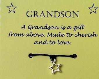 Grandson Wish Bracelet Keepsake Gift, Grandson Birthday , Star String Cord Wish Bracelet, Keepsake Card, Grandson Jewellery, Stocking filler
