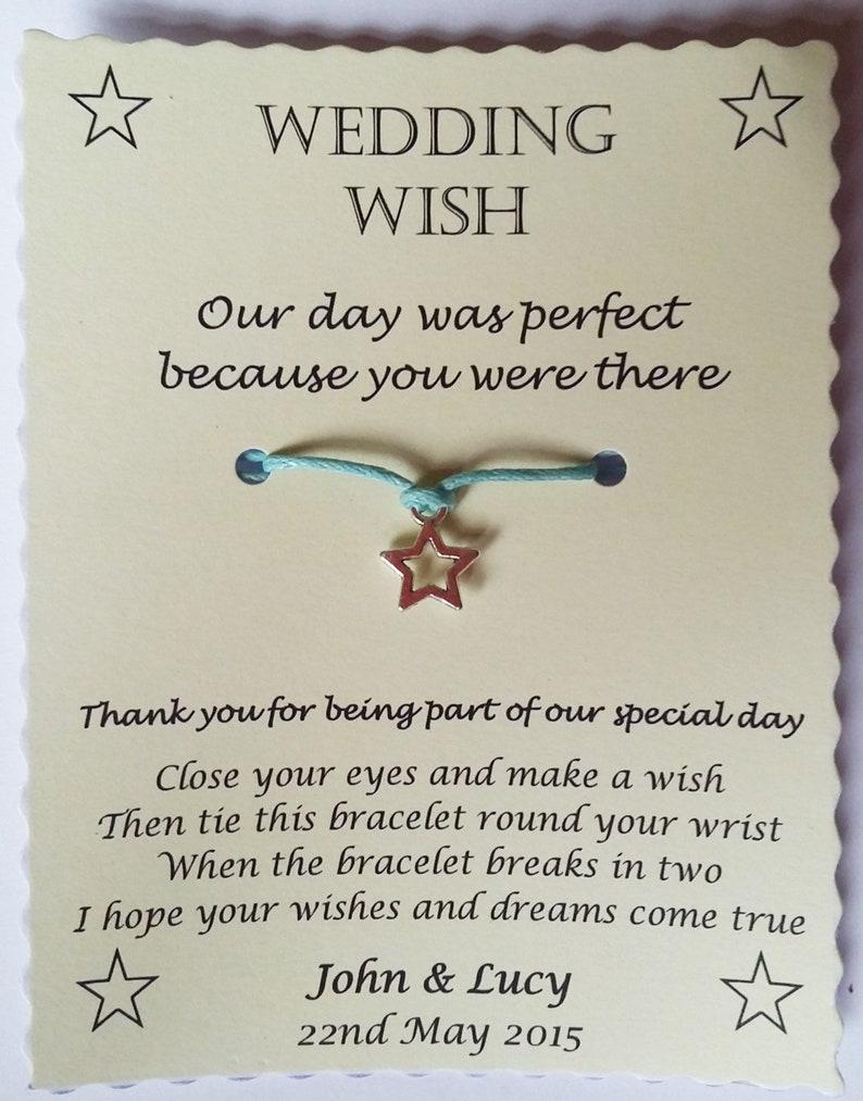 Wedding Thank You Wish Bracelet Keepsake Gift