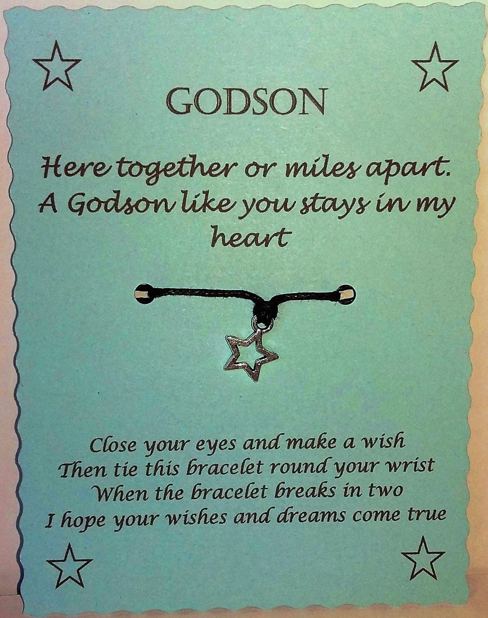 Godson Wish String Bracelet Keepsake Gift Etsy