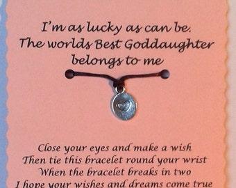 Goddaughter gift, Wish Bracelet, Goddaughter Bracelet, Friendship bracelet, Goddaughter Jewelry, Gift for Goddaughter, Godchild Gift
