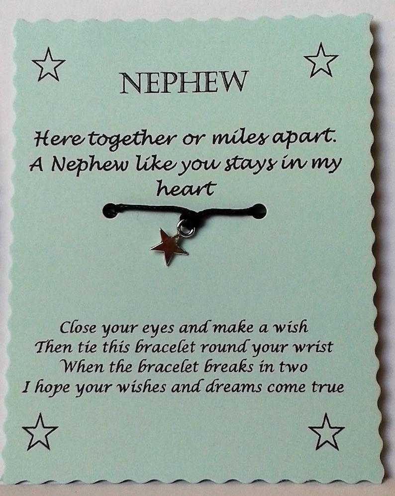 Charm bracelet Nephew Jewelry Nephew Gift Nephew Card Quotes Jewelry String Wish Bracelet Nephew Wish Bracelet Cord Wish Bracelet