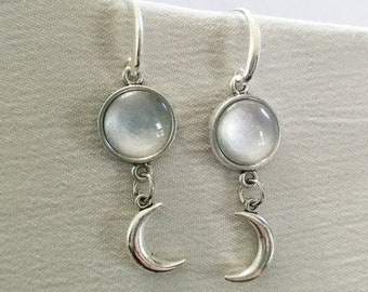 Moon jewelry, crescent moon earrings, moon earrings, half moon earrings, silver moon earrings, lunar jewelry, lunar earrings