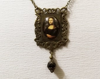 The Mona Lisa Necklace, Famous Painting Jewelry, Leonardo Da Vinci, jewelry, vintage cameo, oil painting, fine art jewelry, history art