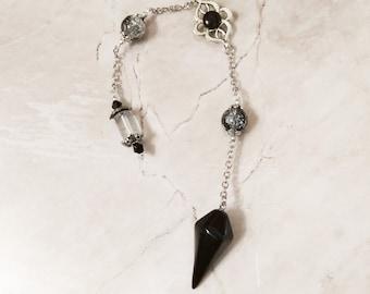 Dowsing Pendulum, divination pendulum, esoteric Pendulum, Dowsing tool, Divination Dowser, Reiki, Chakra, Natural Crystal, black obsidian