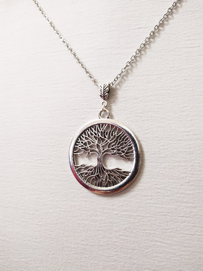 Big Tree of life silver necklace