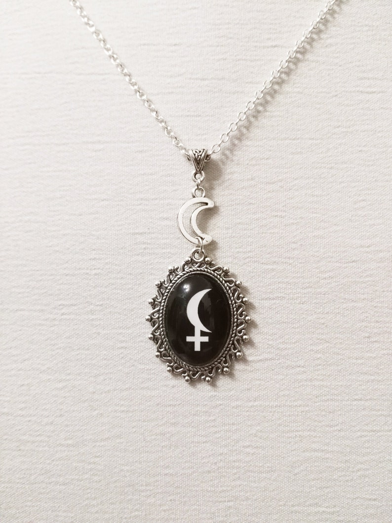 f6b191395a0a Black moon Lilith necklace astrology sign occult symbol
