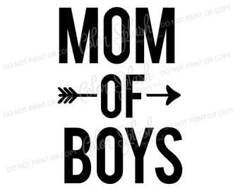 Mom of boys SVG, DXF, EPS, mom of boys clipart, mom life svg cuttables, clip art, Cricut, Silhouette, Cutting File