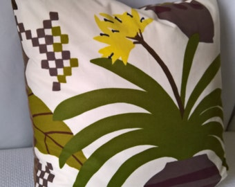 "Marimekko Ikkunaprinssi Custom Made Pillow Velvet Back 20""x20"" Feather Insert!"