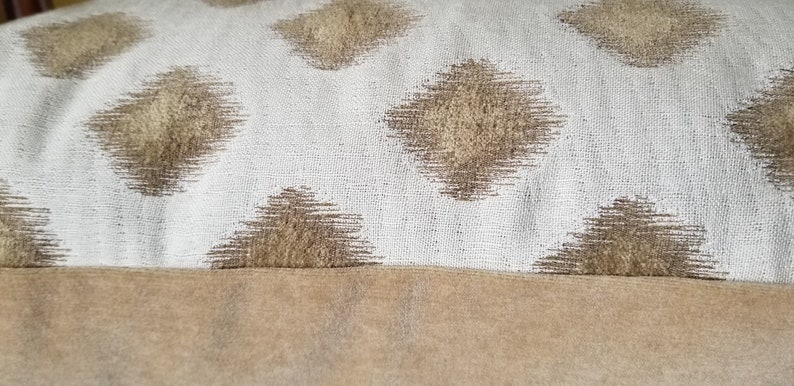 PAIR Stunning Chenille Diamond Ivory and Pale Gold Pillow Covers Custom Pillow Cover 22x22 PAIR